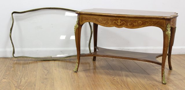 Louis XV Style Inlaid Marquetry Coffee Table - 3