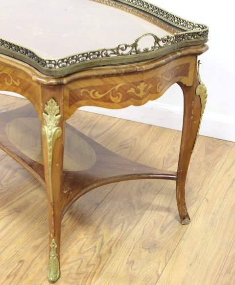 Louis XV Style Inlaid Marquetry Coffee Table - 4