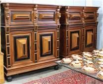 Pair Renaissance Revival Victorian Oak Cabinets