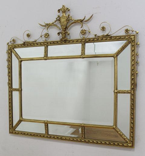 Gold Mirror with Urn & Floral Design