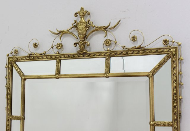 Gold Mirror with Urn & Floral Design - 2