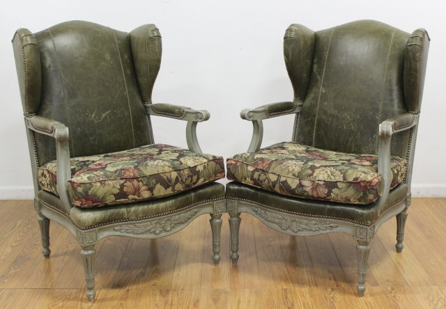 Pair Leather Back Seat Wing Back Chairs