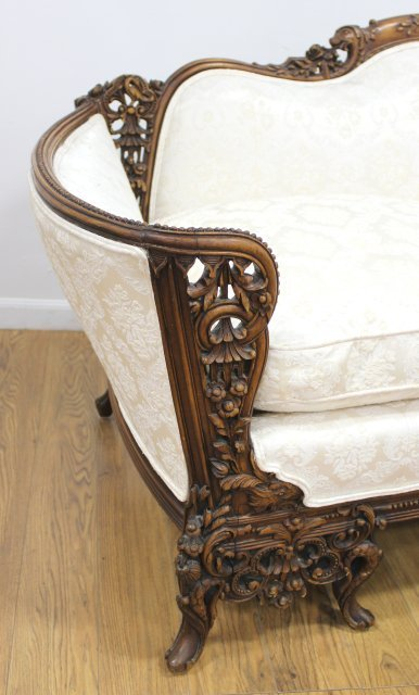 Carved Regency Style Down Cushion Sofa - 3
