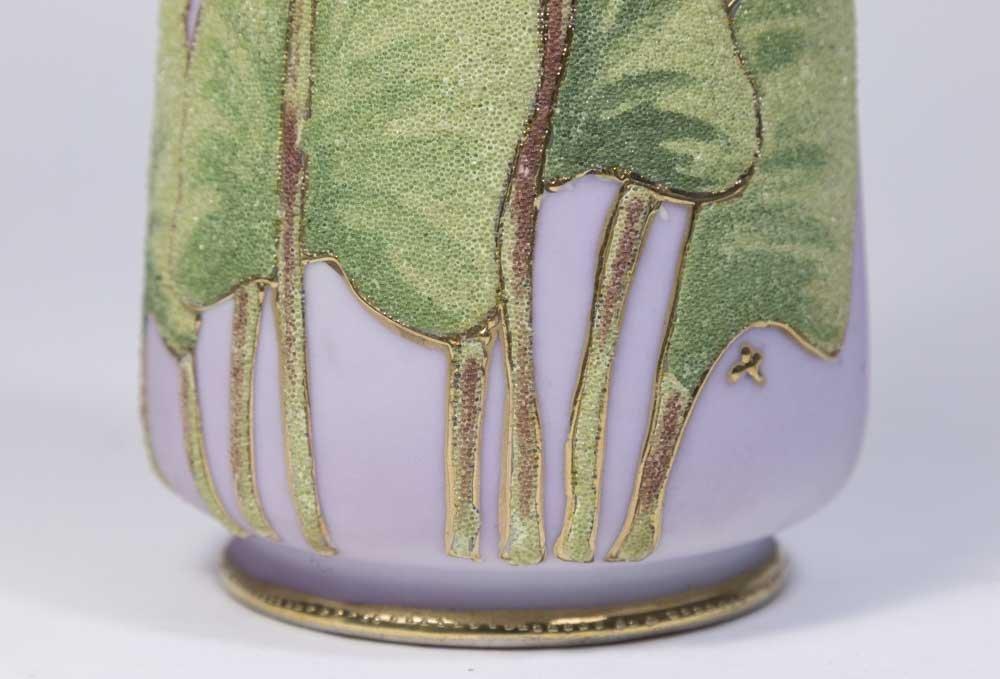 Nippon Coralene Lavender Vase - 3