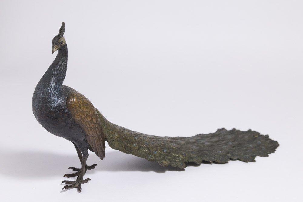 Large Hallmarked Polychromed Vienna Bronze Peacock