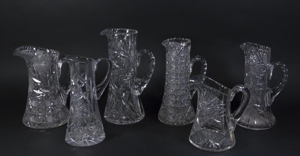 6 Cut Crystal Vintage Pitchers