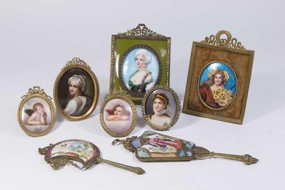 6 Miniature Portrait & 2 Porcelain Hand Mirrors