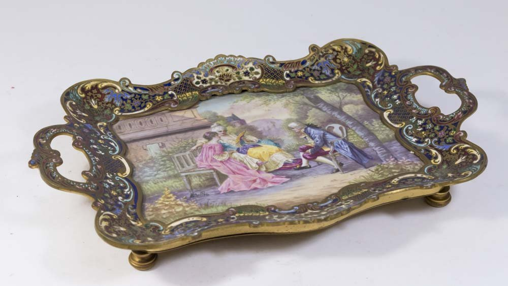 French Champleve & Porcelain Enameled Tray