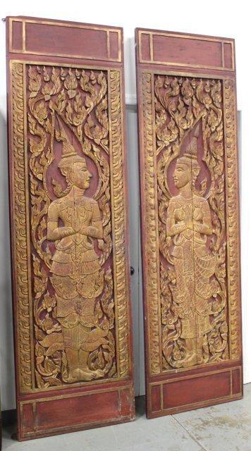 Pair Asian Carved Wood Doors
