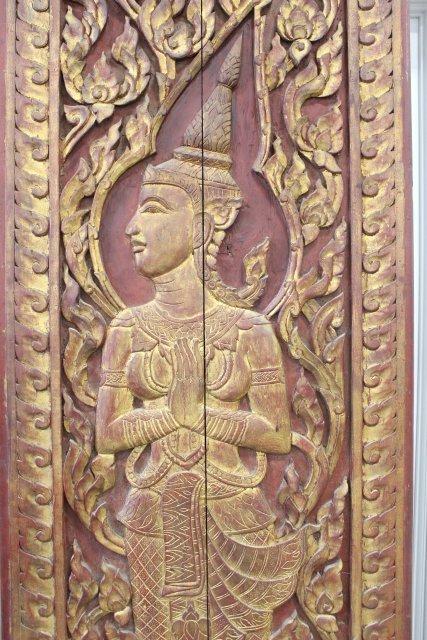 Pair Asian Carved Wood Doors - 2
