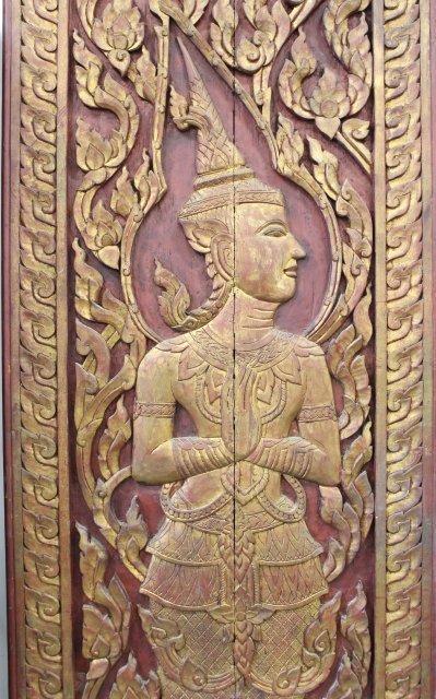 Pair Asian Carved Wood Doors - 3