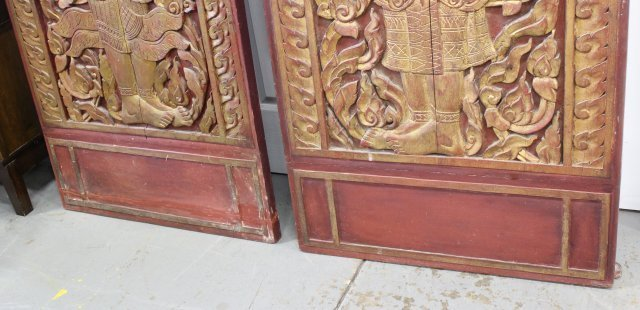 Pair Asian Carved Wood Doors - 4