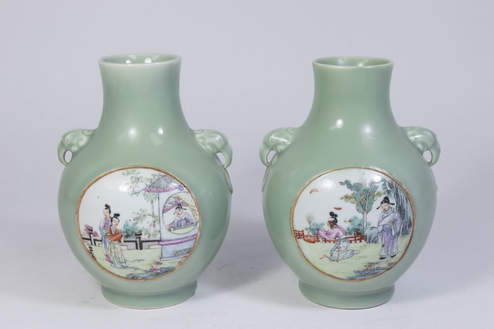 Pair Celadon Vases with Panel Scenes