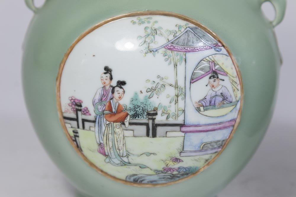 Pair Celadon Vases with Panel Scenes - 2