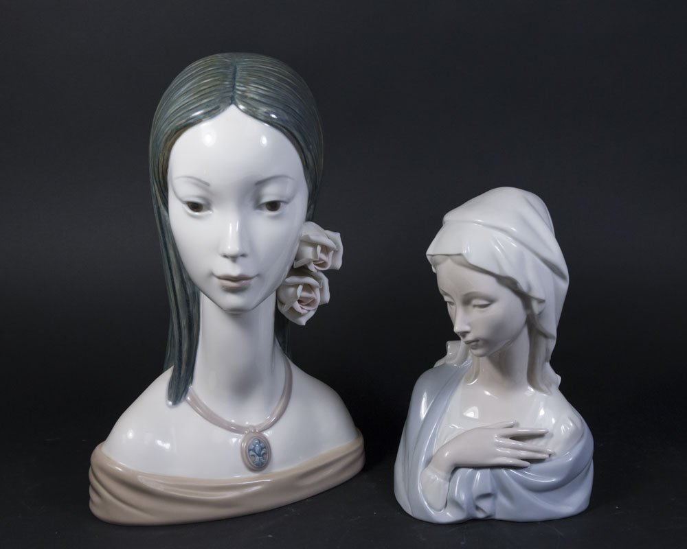 2 Lladro Busts, Lady with Flowers & Virgin Mary