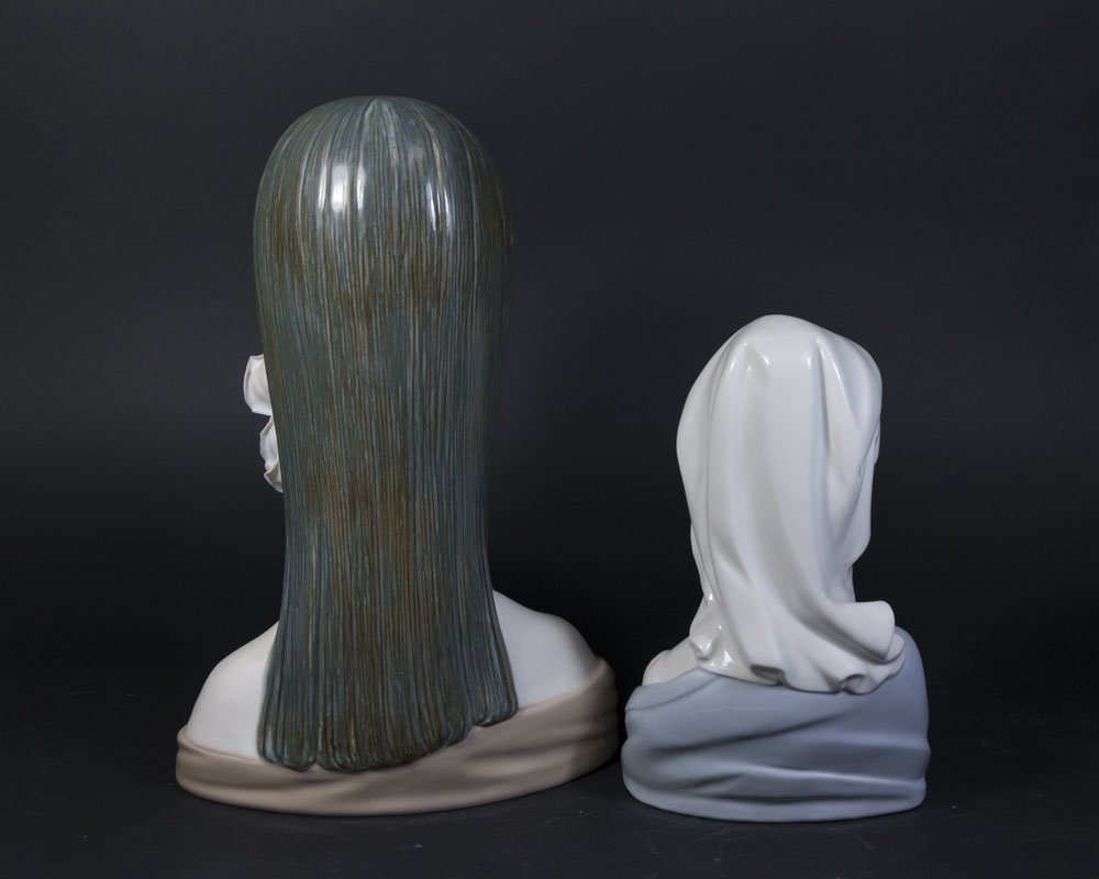 2 Lladro Busts, Lady with Flowers & Virgin Mary - 6