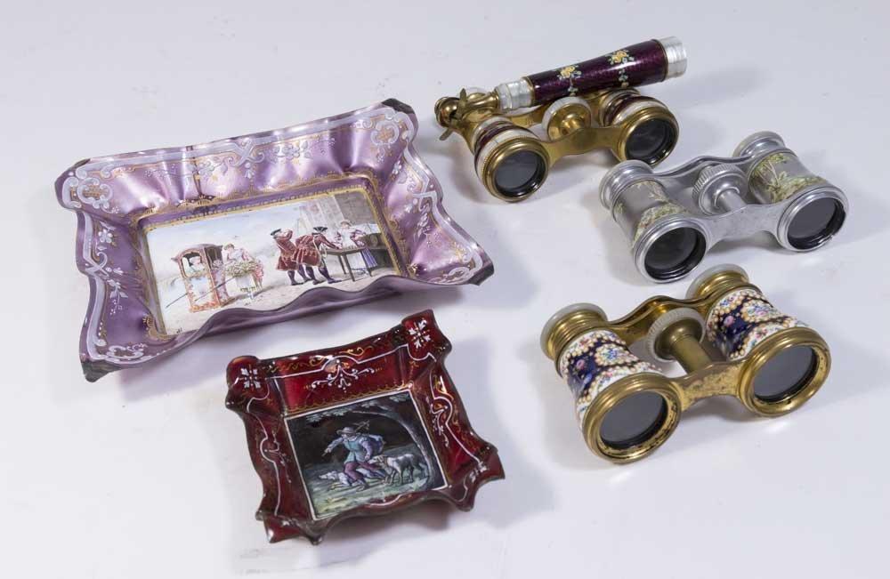 Lot of Enamel Binoculars & Trays
