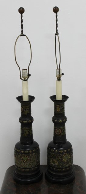 Pair Chinese Cloisonne Vases Mounted as Lamps