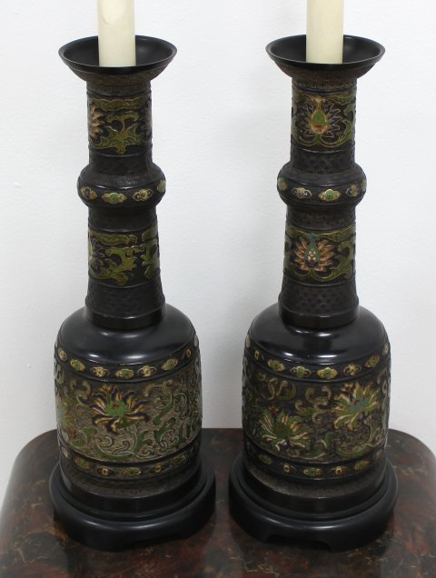Pair Chinese Cloisonne Vases Mounted as Lamps - 2