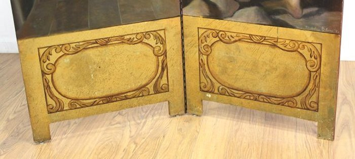 2 Panel Painted Wood Screen - 4