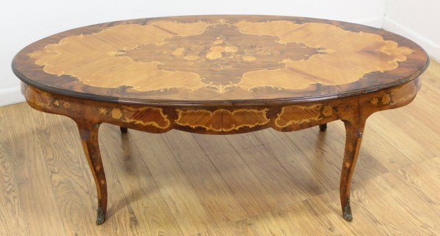 Italian French Style Inlaid Coffee Table - 2
