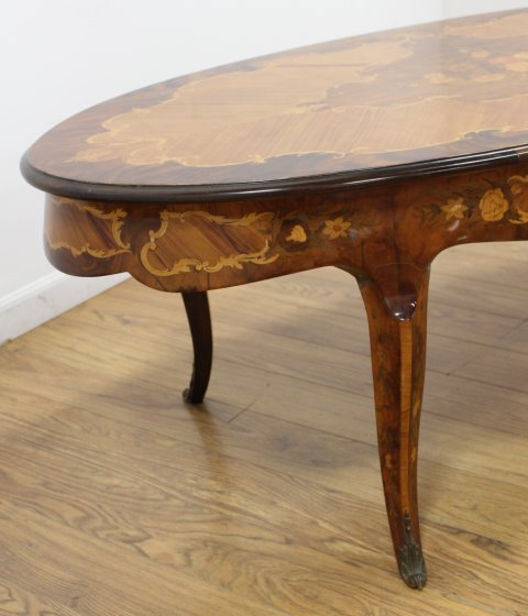 Italian French Style Inlaid Coffee Table - 3