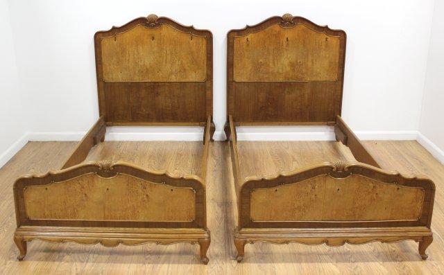 Pair Walnut Single Beds