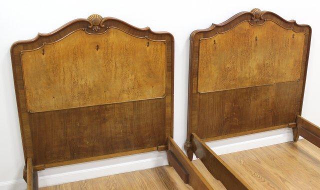 Pair Walnut Single Beds - 2