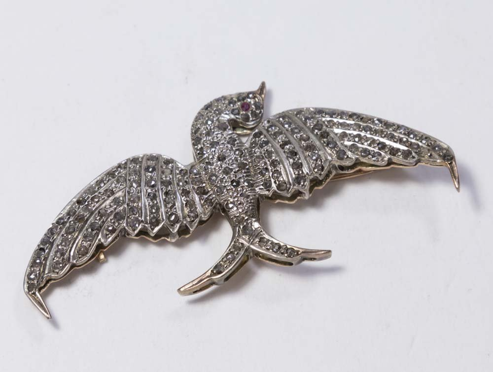 Rose Gold, Silver, & Diamond Bird Pin