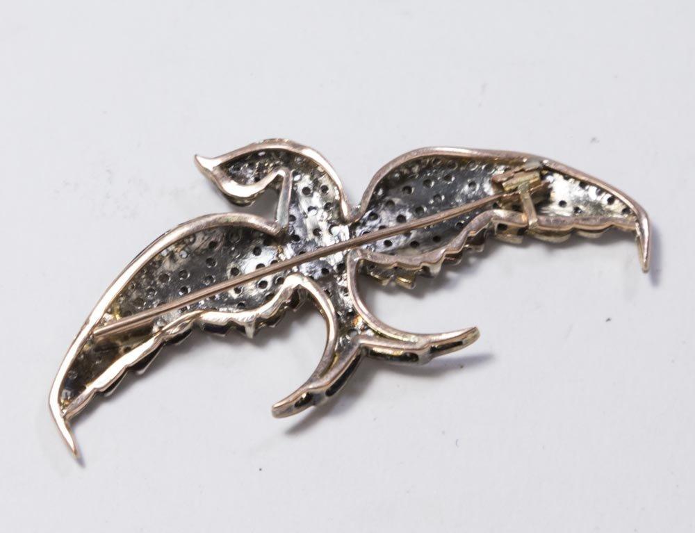Rose Gold, Silver, & Diamond Bird Pin - 2