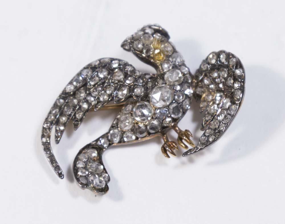 18K Gold Bird Pin with Miner's Cut Diamonds