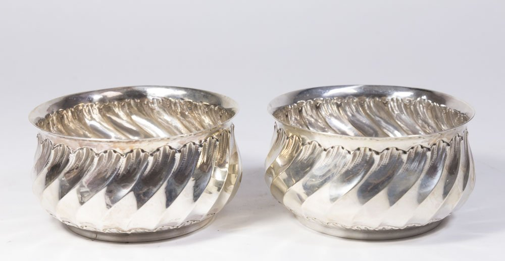 Pair of French Silver Wine Coasters