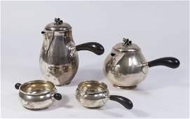 Danish Sterling Silver Ebony Handle Breakfast Set