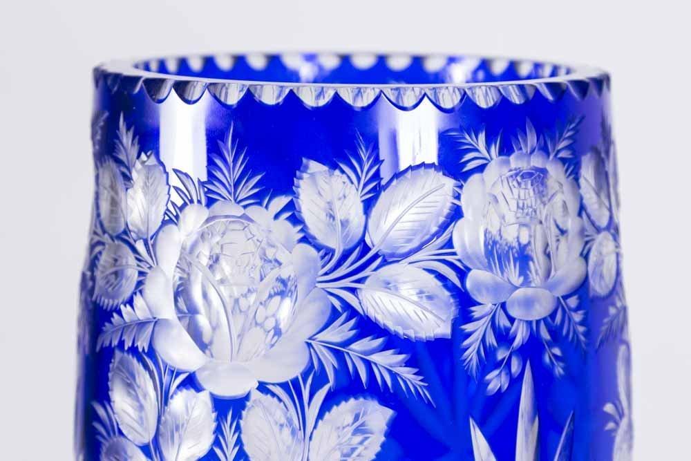 Large Cobalt & Clear Cut Crystal Vase - 2