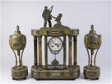 3 Piece French Marble & Bronze Clock Set