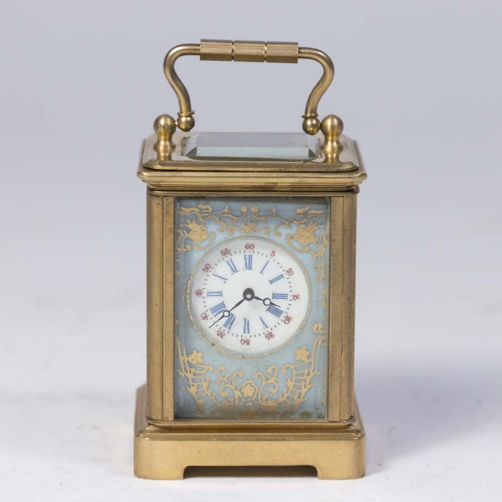 Miniature Carriage Clock with Porcelain Plaques