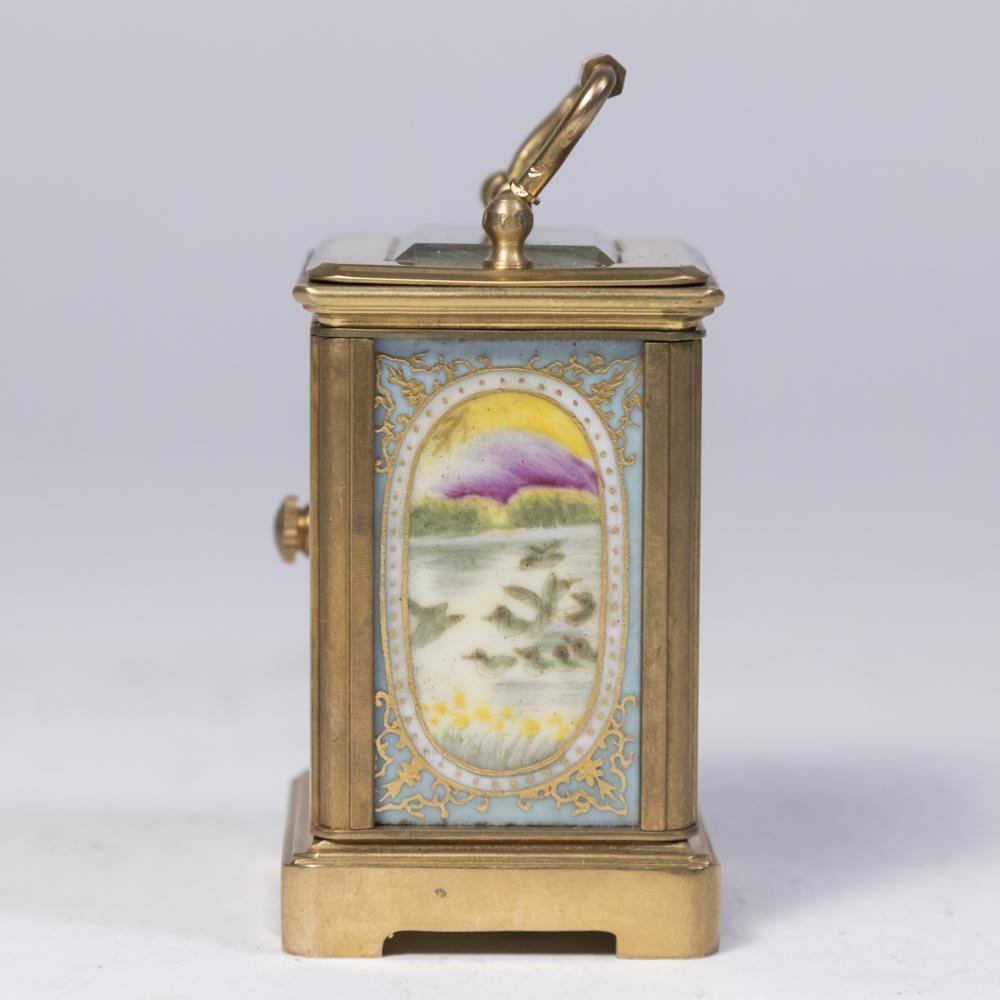 Miniature Carriage Clock with Porcelain Plaques - 3