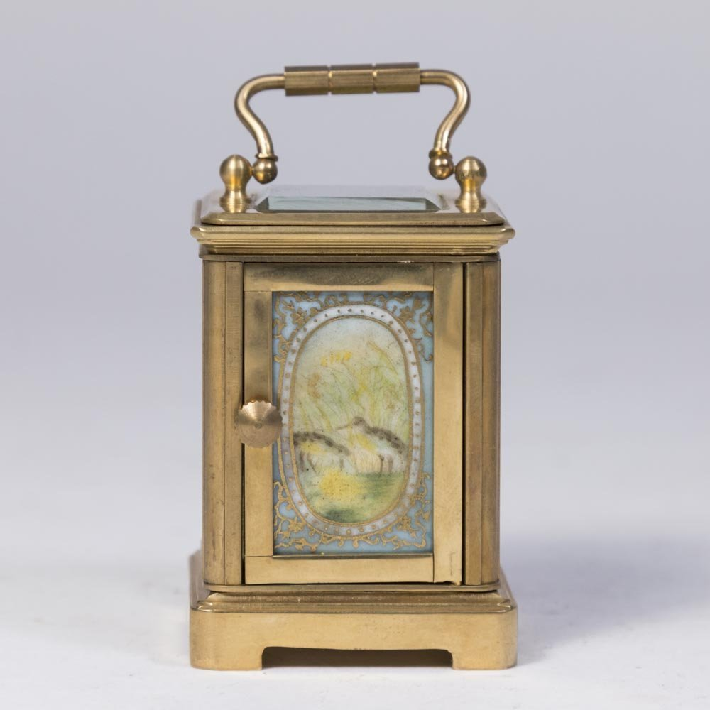 Miniature Carriage Clock with Porcelain Plaques - 4