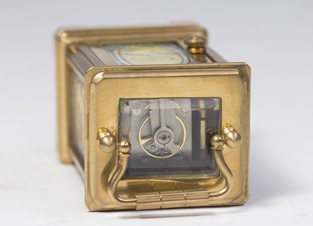 Miniature Carriage Clock with Porcelain Plaques - 7