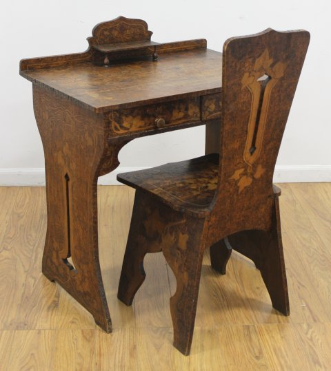 Belgian Arts & Crafts Small Stained Pine Desk