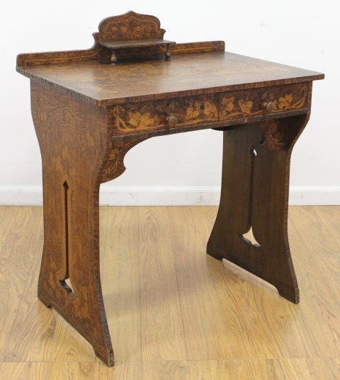 Belgian Arts & Crafts Small Stained Pine Desk - 2