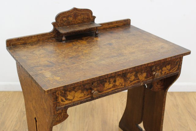 Belgian Arts & Crafts Small Stained Pine Desk - 3