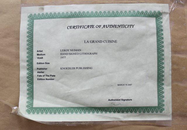 "Leroy Neiman Lithograph, ""La Grand Cuisine"" - 5"