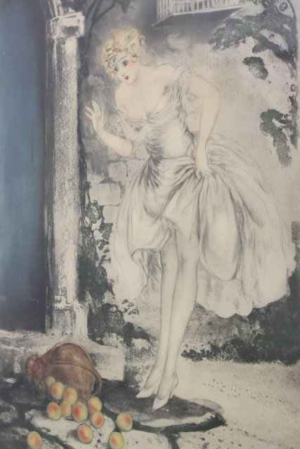 Vintage Louis Icart, Girl with Peaches - 2