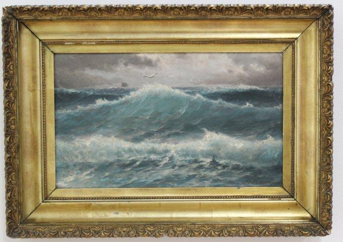 Theodor V.C. Valenkamph, Seascape w/ Gulls & Ship