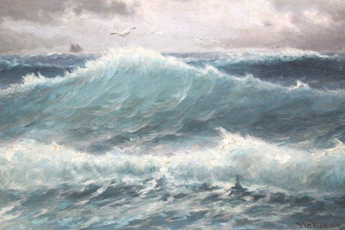 Theodor V.C. Valenkamph, Seascape w/ Gulls & Ship - 2