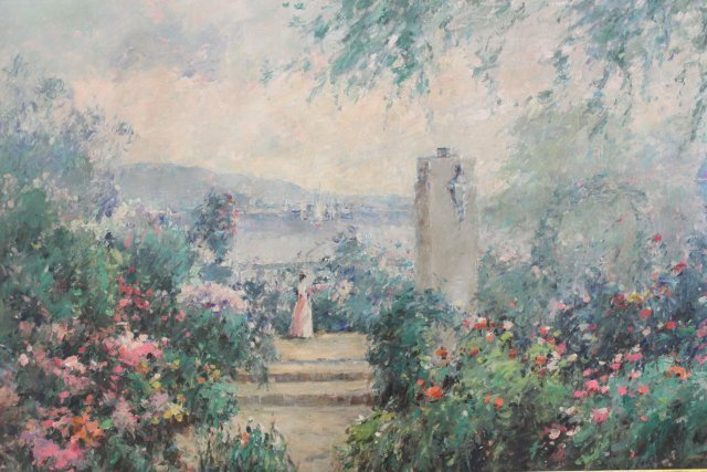Impressionist Style Terrace Scene with Figure - 2