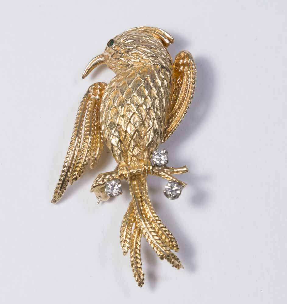 10K Yellow Gold & Diamond Bird Pin