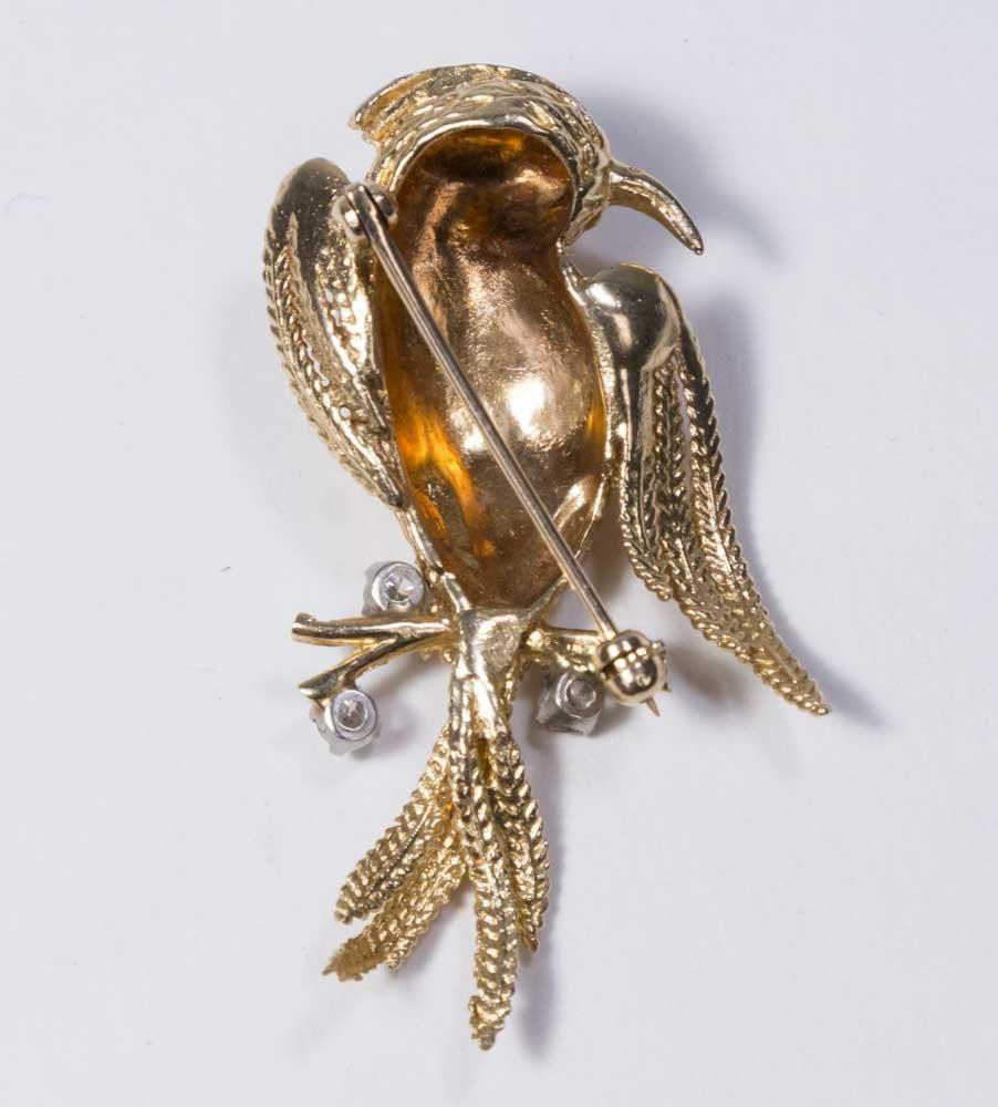 10K Yellow Gold & Diamond Bird Pin - 2