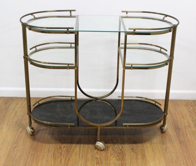 60s Brass & Glass 3-Tier Bar Cart